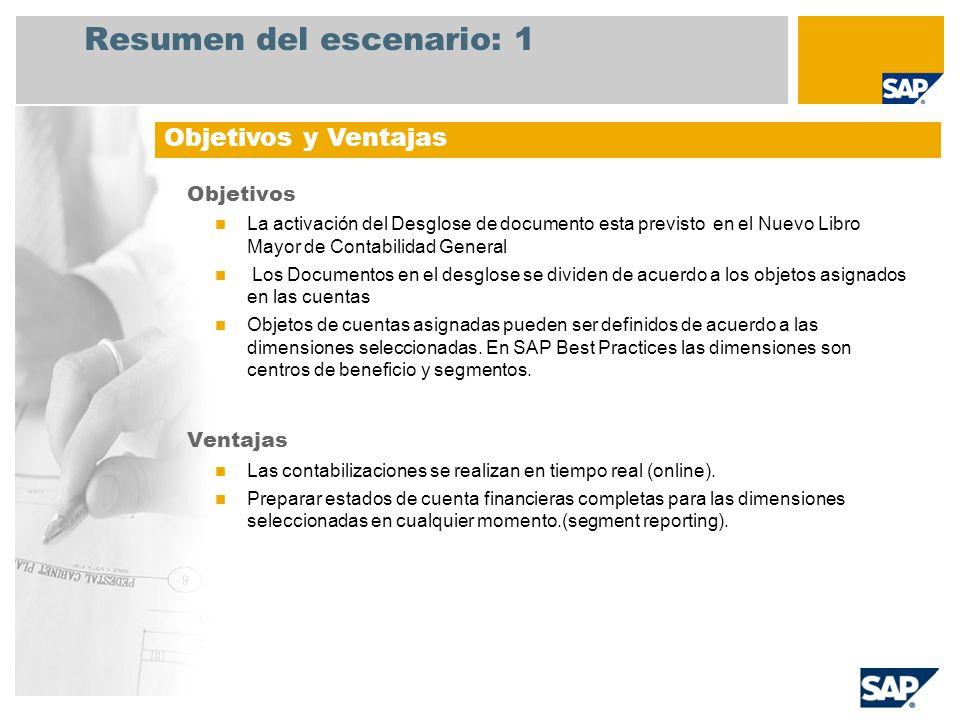 Resumen del escenario: 1 Objetivos La activación del Desglose de documento esta previsto en el Nuevo Libro Mayor de Contabilidad General Los Documento
