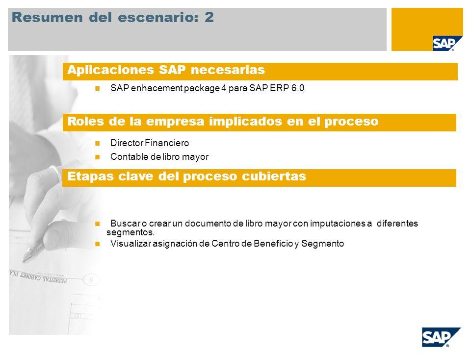 SAP enhacement package 4 para SAP ERP 6.0 Director Financiero Contable de libro mayor Buscar o crear un documento de libro mayor con imputaciones a diferentes segmentos.
