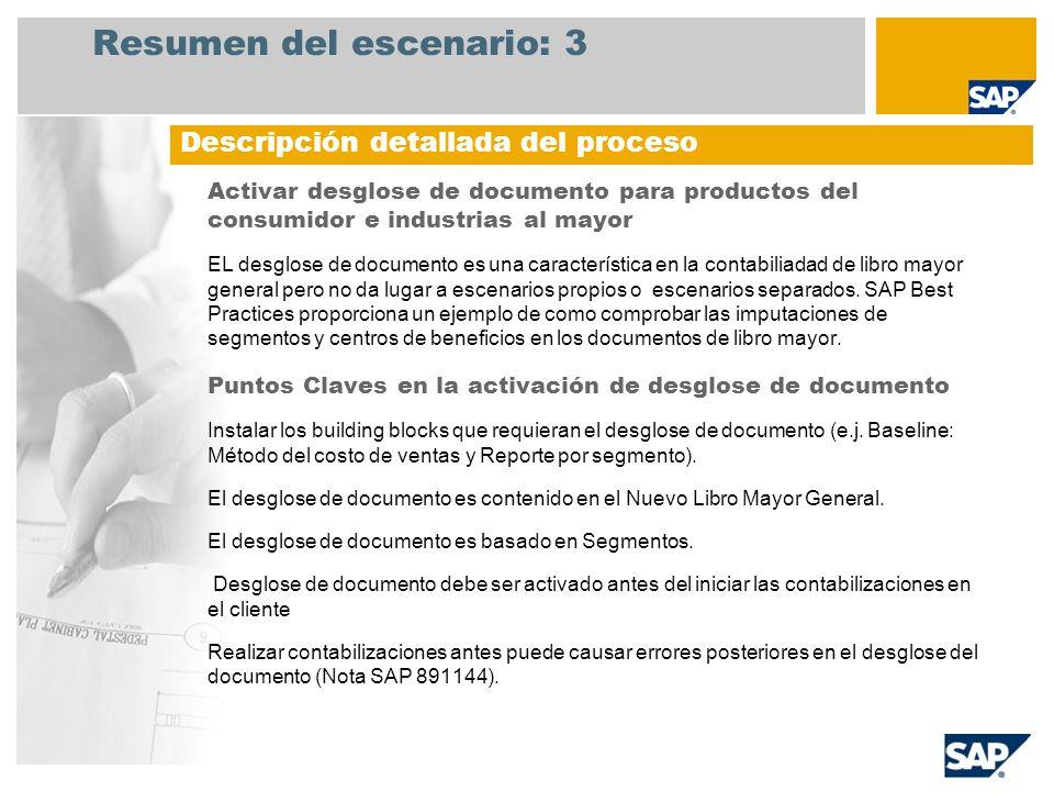 Resumen del escenario: 3 Activar desglose de documento para productos del consumidor e industrias al mayor EL desglose de documento es una característ