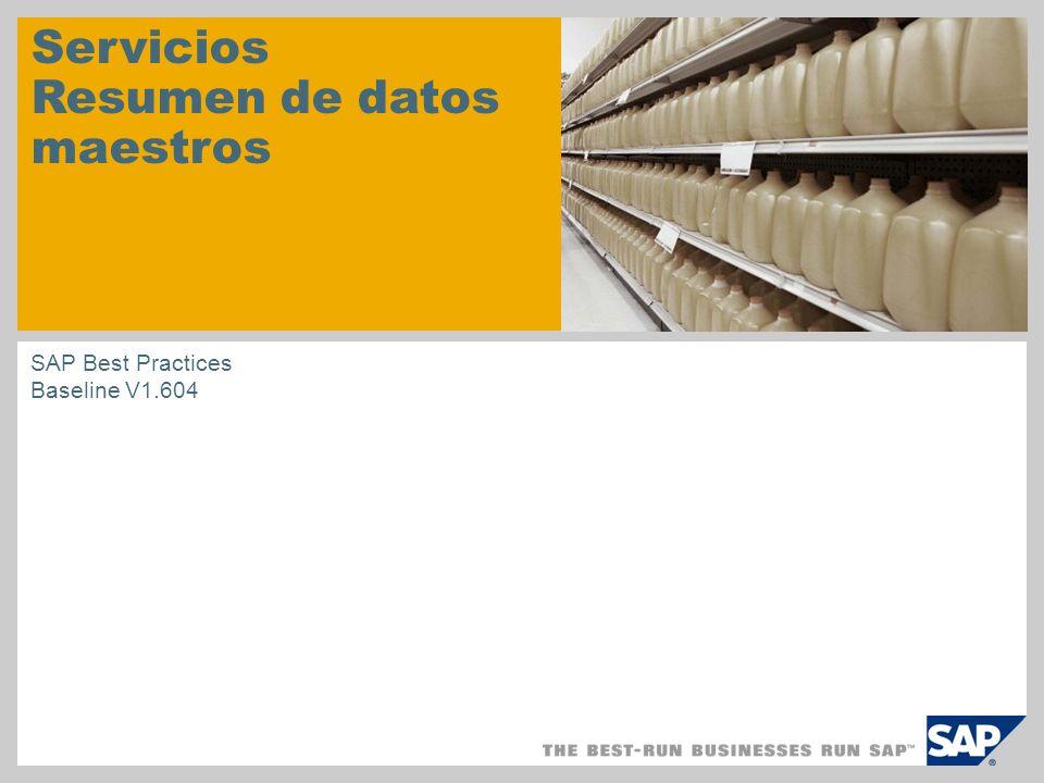 Servicios Resumen de datos maestros SAP Best Practices Baseline V1.604