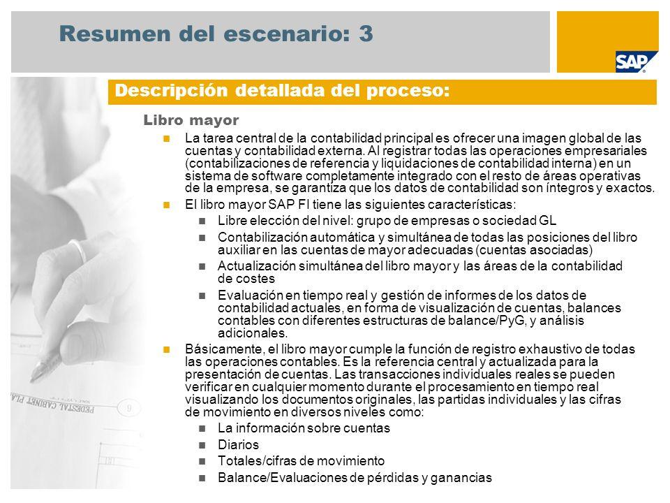 Resumen del escenario: 3 Libro mayor La tarea central de la contabilidad principal es ofrecer una imagen global de las cuentas y contabilidad externa.