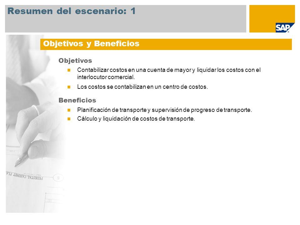 Resumen del escenario: 1 Objetivos Contabilizar costos en una cuenta de mayor y liquidar los costos con el interlocutor comercial. Los costos se conta