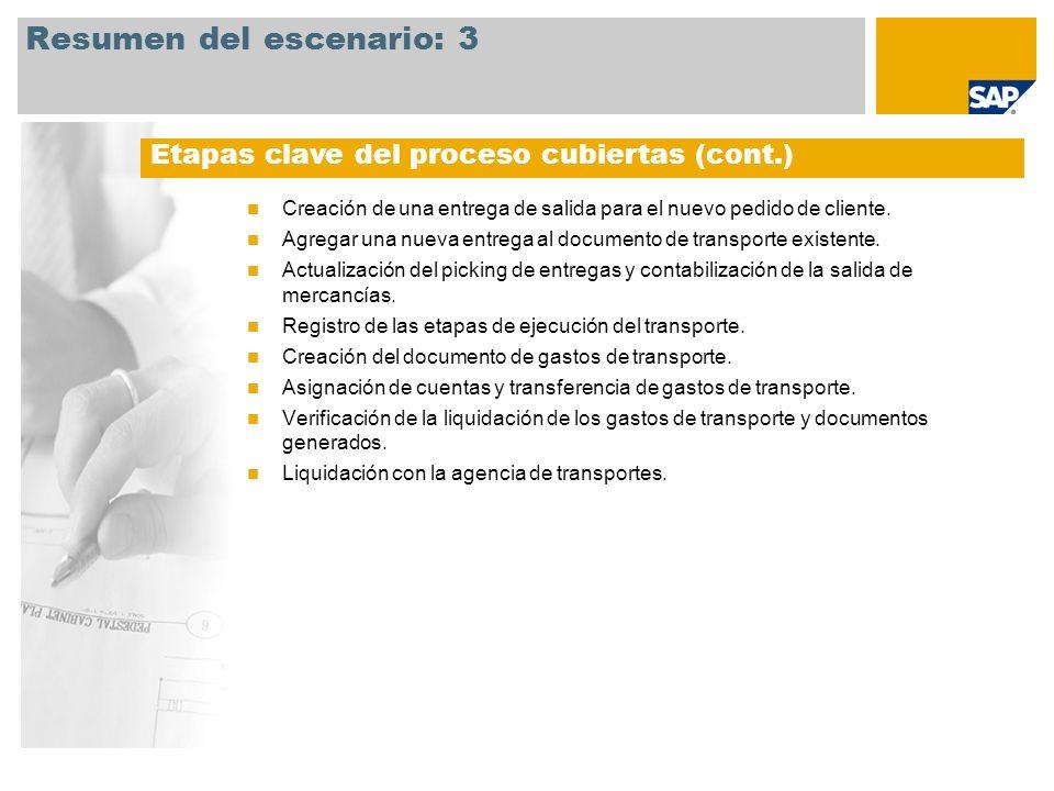 Resumen del escenario: 3 Creación de una entrega de salida para el nuevo pedido de cliente. Agregar una nueva entrega al documento de transporte exist