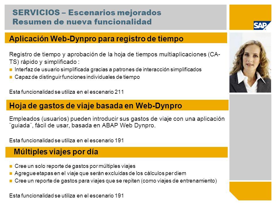 SERVICIOS – Escenarios mejorados Resumen de nueva funcionalidad Aplicación Web-Dynpro para registro de tiempo Registro de tiempo y aprobación de la ho