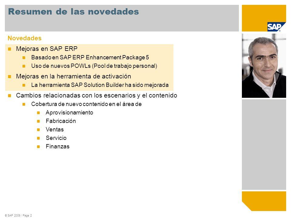 © SAP 2009 / Page 2 Resumen de las novedades Novedades Mejoras en SAP ERP Basado en SAP ERP Enhancement Package 5 Uso de nuevos POWLs (Pool de trabajo