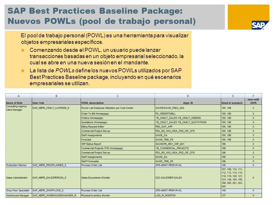SAP Best Practices Baseline Package: Nuevos POWLs (pool de trabajo personal) El pool de trabajo personal (POWL) es una herramienta para visualizar obj