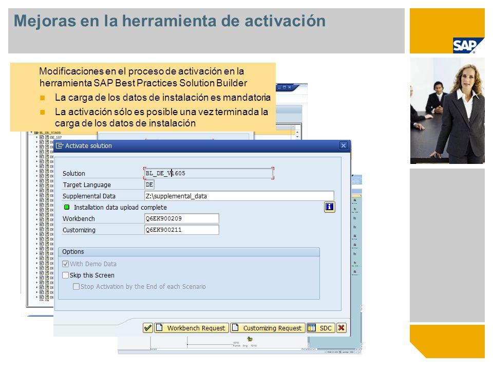 Mejoras en la herramienta de activación Modificaciones en el proceso de activación en la herramienta SAP Best Practices Solution Builder La carga de l