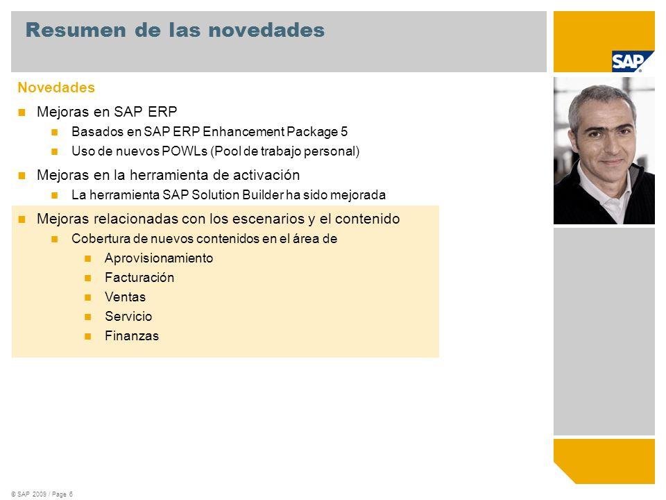 © SAP 2009 / Page 6 Novedades Mejoras en SAP ERP Basados en SAP ERP Enhancement Package 5 Uso de nuevos POWLs (Pool de trabajo personal) Mejoras en la