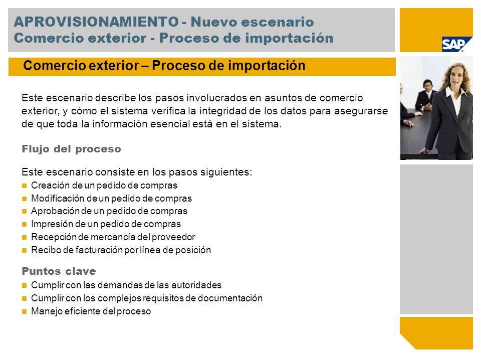 APROVISIONAMIENTO - Nuevo escenario Comercio exterior - Proceso de importación Este escenario describe los pasos involucrados en asuntos de comercio e