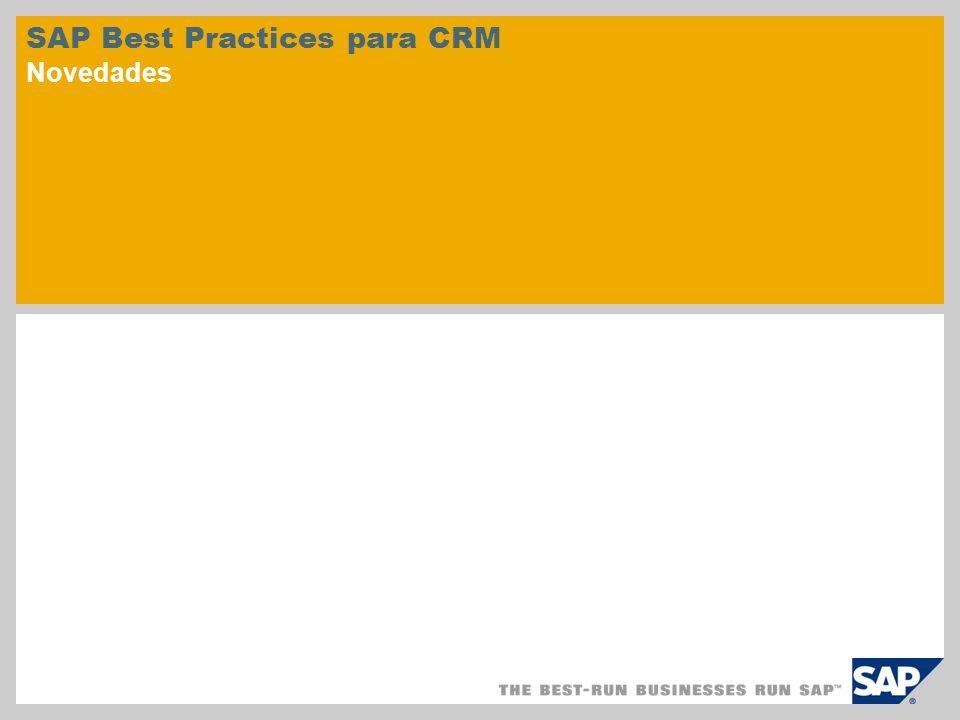 © SAP 2010 / Página 2 SAP Best Practices for Customer Relationship Management comprende varios escenarios empresariales preconfigurados para las áreas siguientes: Marketing Ventas Servicio Análisis Escenarios empresariales preconfigurados