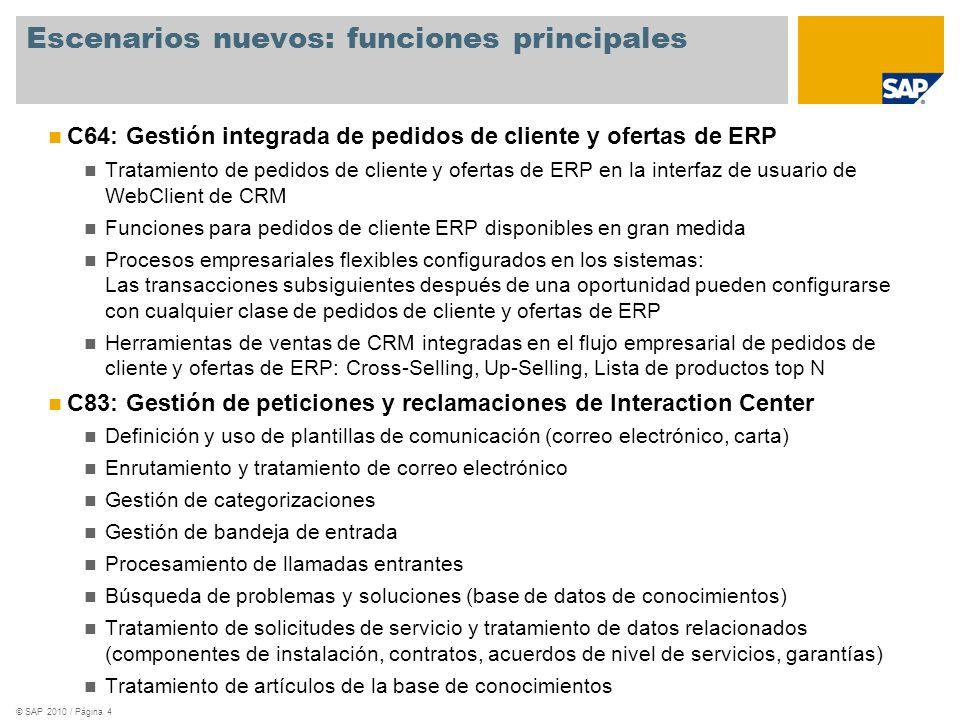© SAP 2010 / Página 5 Contenido de implementación nuevo: Módulos C34: Gestión integrada de pedidos de cliente y ofertas de ERP de CRM Pedidos de cliente y ofertas de ERP en la interfaz de usuario de WebClient de CRM Pedidos de cliente ERP con funciones ERP completas mediante la integración en SAP GUI de la interfaz de usuario de WebClient de CRM C35: Gestión de peticiones y reclamaciones de Interaction Center de CRM Tratamiento de solicitudes de servicio de IC en la interfaz de usuario de WebClient de IC Plantillas de comunicación Categorización en varios niveles Enrutamiento de correo electrónico Bandeja de entrada del agente Búsqueda de conocimientos Artículos de la base de conocimientos