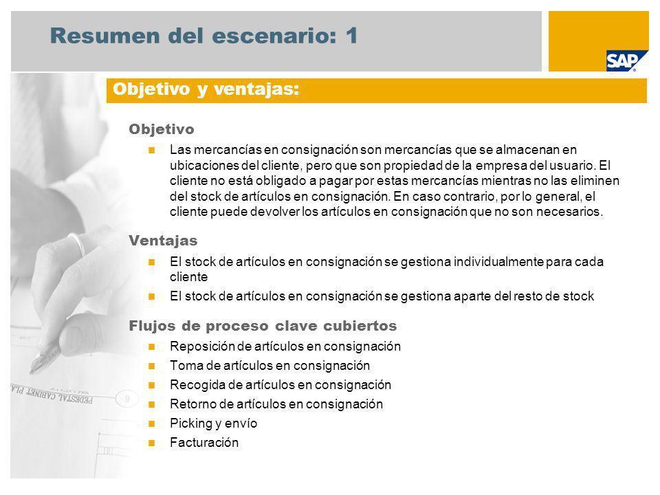 Resumen del escenario: 1 Objetivo Las mercancías en consignación son mercancías que se almacenan en ubicaciones del cliente, pero que son propiedad de