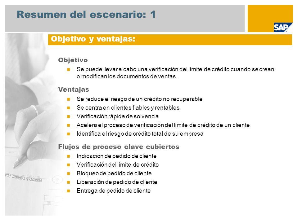 Resumen del escenario: 1 Objetivo Se puede llevar a cabo una verificación del límite de crédito cuando se crean o modifican los documentos de ventas.