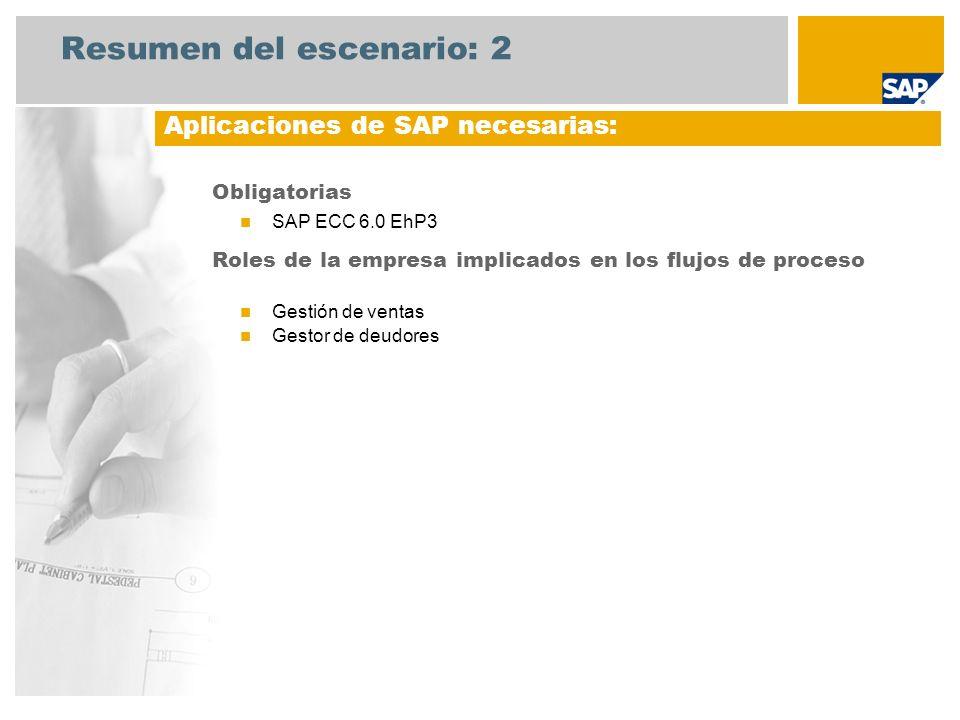 Resumen del escenario: 2 Obligatorias SAP ECC 6.0 EhP3 Roles de la empresa implicados en los flujos de proceso Gestión de ventas Gestor de deudores Ap
