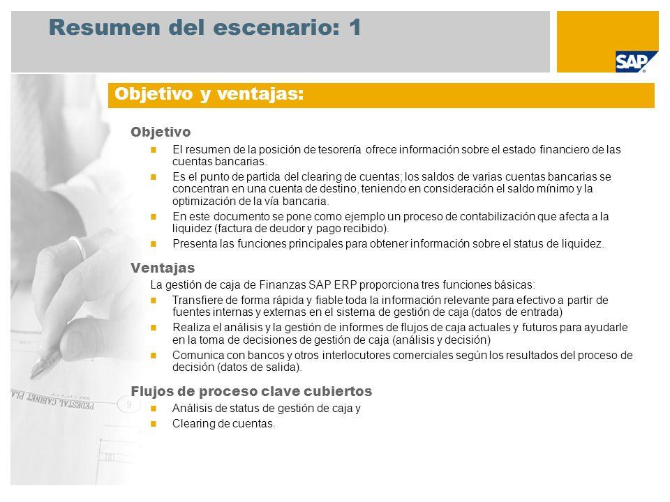 Resumen del escenario: 1 Objetivo El resumen de la posición de tesorería ofrece información sobre el estado financiero de las cuentas bancarias. Es el