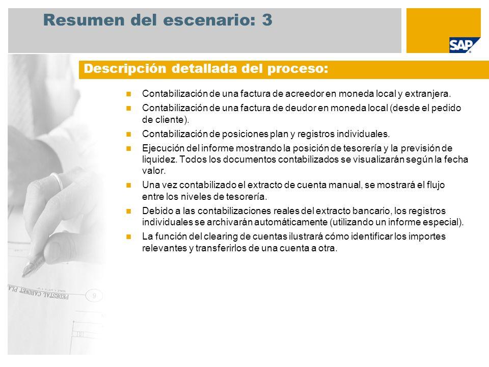 Resumen del escenario: 3 Contabilización de una factura de acreedor en moneda local y extranjera. Contabilización de una factura de deudor en moneda l