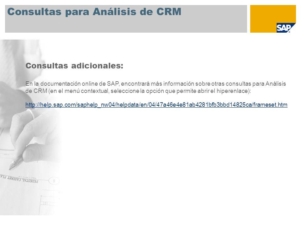 Consultas para Análisis de CRM Consultas adicionales: En la documentación online de SAP, encontrará más información sobre otras consultas para Análisi