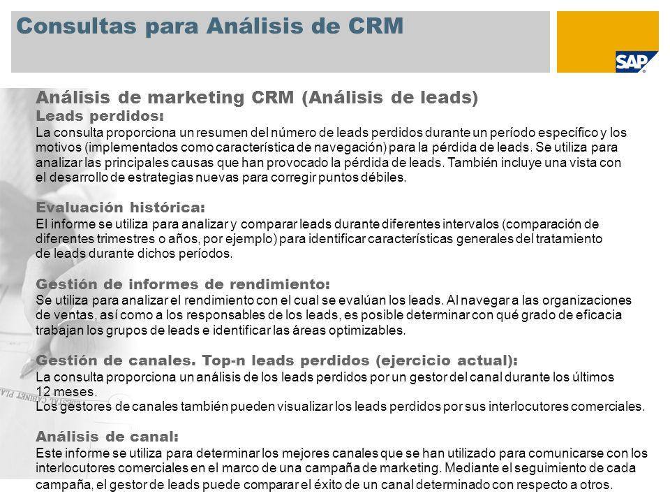 Consultas para Análisis de CRM Análisis de marketing CRM (Análisis de leads) Leads perdidos: La consulta proporciona un resumen del número de leads pe