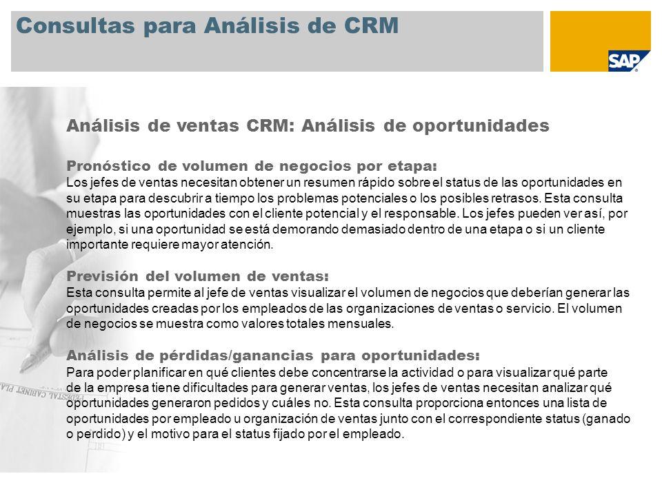 Consultas para Análisis de CRM Análisis de ventas CRM: Análisis de oportunidades Pronóstico de volumen de negocios por etapa: Los jefes de ventas nece