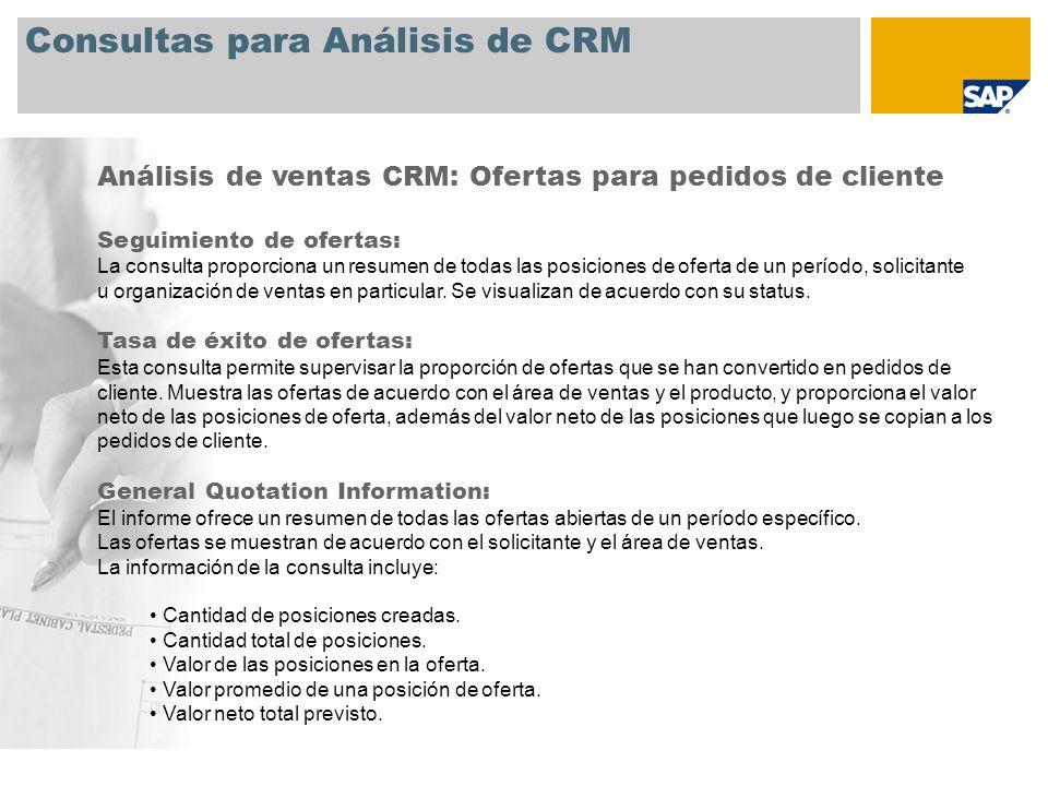 Consultas para Análisis de CRM Análisis de ventas CRM: Ofertas para pedidos de cliente Seguimiento de ofertas: La consulta proporciona un resumen de t