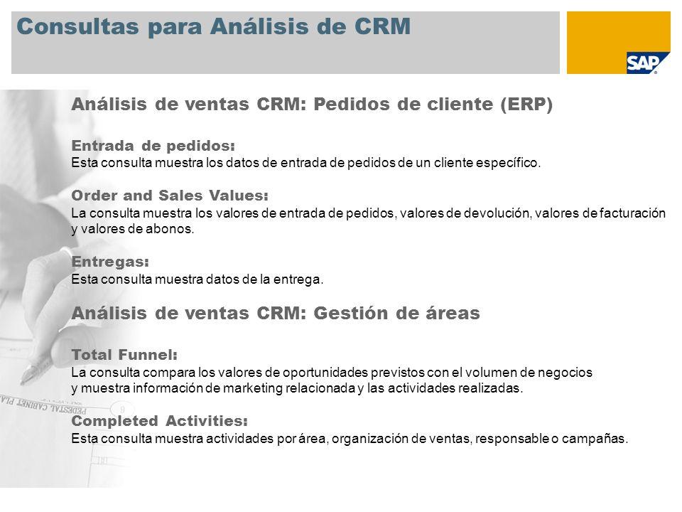 Consultas para Análisis de CRM Análisis de ventas CRM: Pedidos de cliente (ERP) Entrada de pedidos: Esta consulta muestra los datos de entrada de pedi