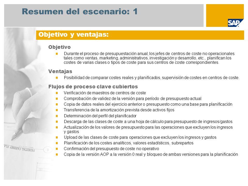 Resumen del escenario: 1 Objetivo Durante el proceso de presupuestación anual, los jefes de centros de coste no operacionales tales como ventas, marke