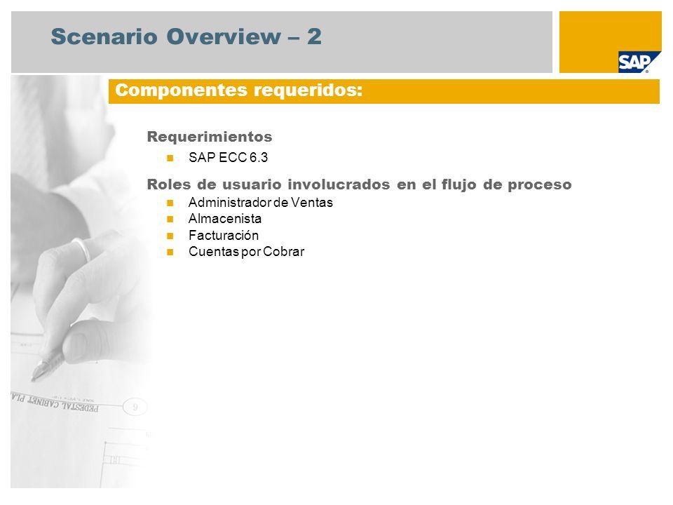 Scenario Overview – 2 Requerimientos SAP ECC 6.3 Roles de usuario involucrados en el flujo de proceso Administrador de Ventas Almacenista Facturación