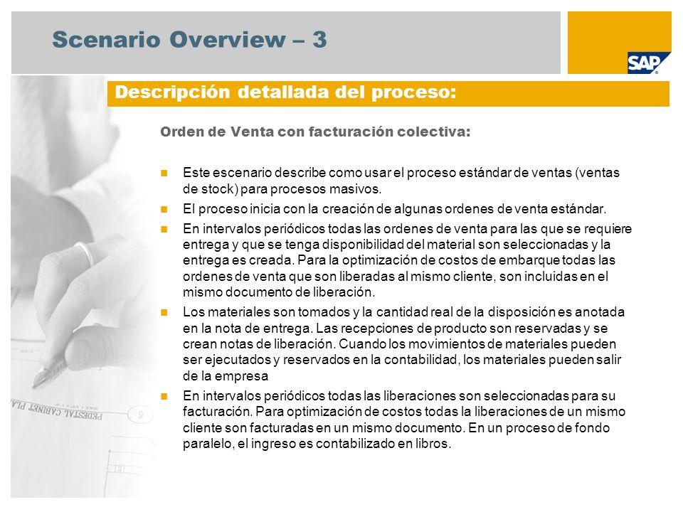 Scenario Overview – 3 Orden de Venta con facturación colectiva: Este escenario describe como usar el proceso estándar de ventas (ventas de stock) para