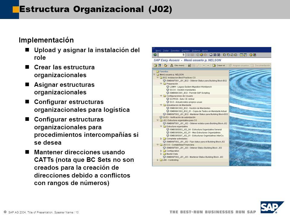 SAP AG 2004, Title of Presentation, Speaker Name / 10 Estructura Organizacional (J02) Implementación Upload y asignar la instalación del role Crear la