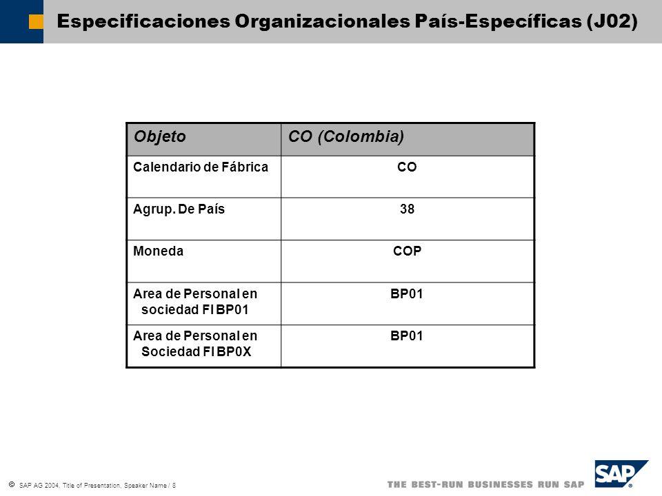 SAP AG 2004, Title of Presentation, Speaker Name / 8 Especificaciones Organizacionales País-Específicas (J02) ObjetoCO (Colombia) Calendario de Fábric