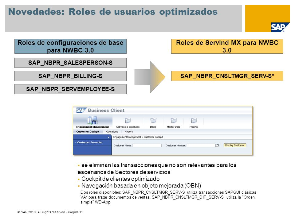 © SAP 2010. All rights reserved. / Página 11 Novedades: Roles de usuarios optimizados SAP_NBPR_SALESPERSON-S SAP_NBPR_BILLING-S SAP_NBPR_SERVEMPLOYEE-