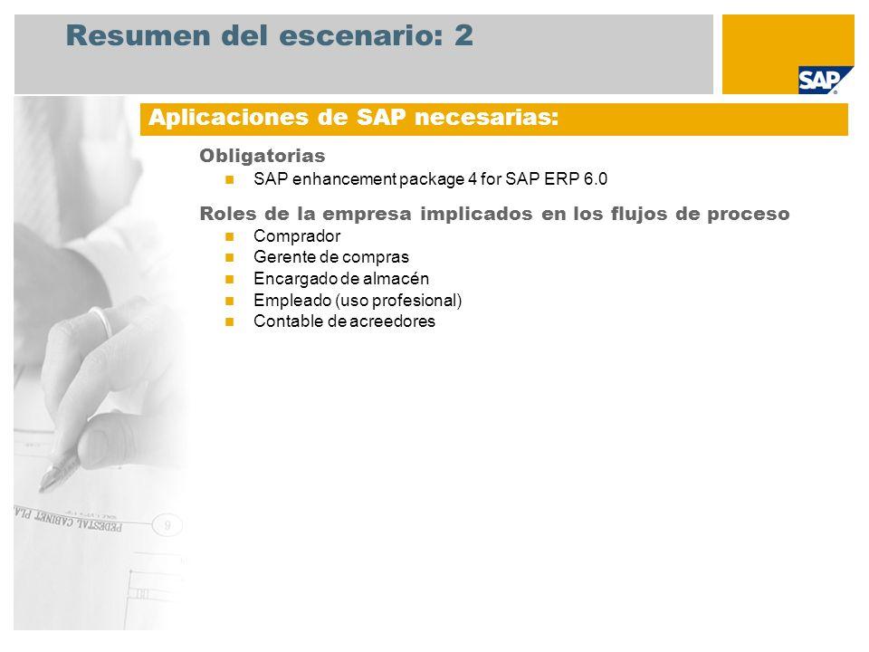 Resumen del escenario: 3 Compras de material de consumo En este escenario se tratan las actividades de creación de pedidos durante el proceso de aprovisionamiento.