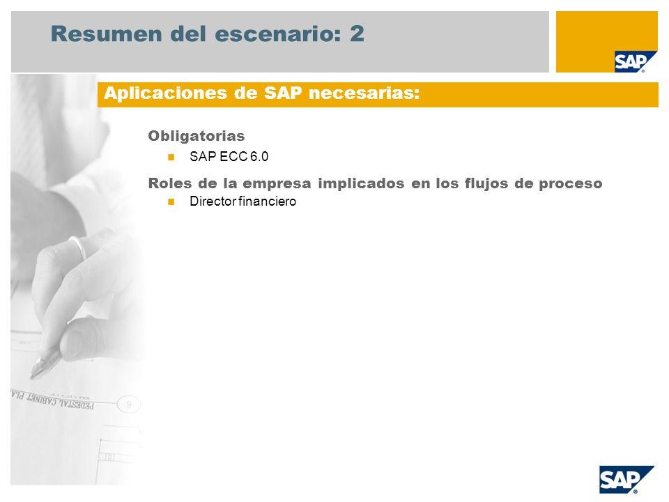 Resumen del escenario: 2 Obligatorias SAP ECC 6.0 Roles de la empresa implicados en los flujos de proceso Director financiero Aplicaciones de SAP nece