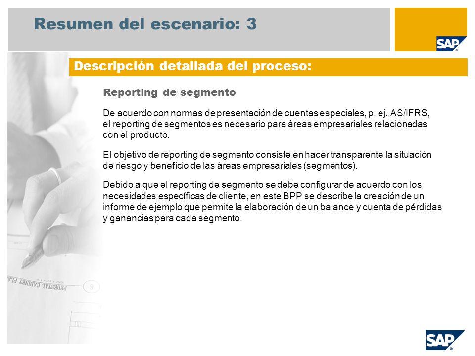 Resumen del escenario: 3 Reporting de segmento De acuerdo con normas de presentación de cuentas especiales, p. ej. AS/IFRS, el reporting de segmentos