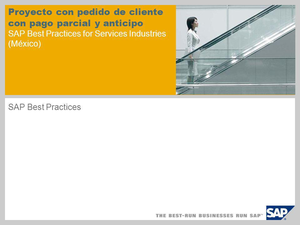 Proyecto con pedido de cliente con pago parcial y anticipo SAP Best Practices for Services Industries (México) SAP Best Practices