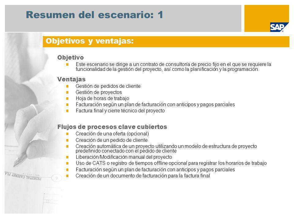 Resumen del escenario: 2 Obligatorias SAP enhancement package 4 for SAP ERP 6.0 Roles de la empresa implicados en los flujos de procesos Director de consultoría Gestión de proyectos Contable de acreedores Aplicaciones de SAP necesarias: