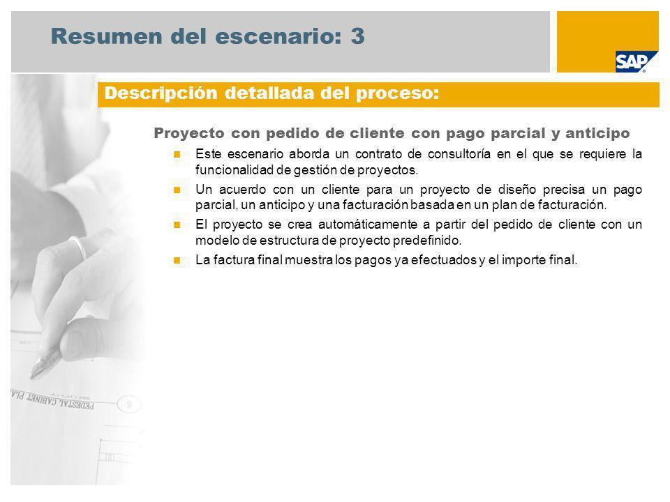 Resumen del escenario: 3 Proyecto con pedido de cliente con pago parcial y anticipo Este escenario aborda un contrato de consultoría en el que se requ