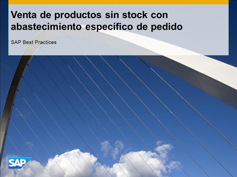 Venta de productos sin stock con abastecimiento específico de pedido SAP Best Practices