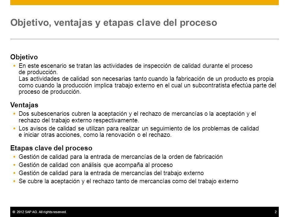 ©2012 SAP AG. All rights reserved.2 Objetivo, ventajas y etapas clave del proceso Objetivo En este escenario se tratan las actividades de inspección d