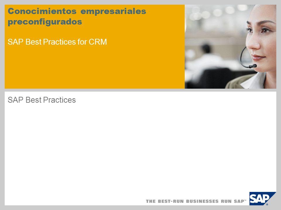 Índice è è Qué es SAP Best Practices Soluciones SAP Business All-in-One & SAP Best Practices SAP Best Practices: Utilización El principio de building block SAP Best Practices for CRM Ventajas de SAP Best Practices