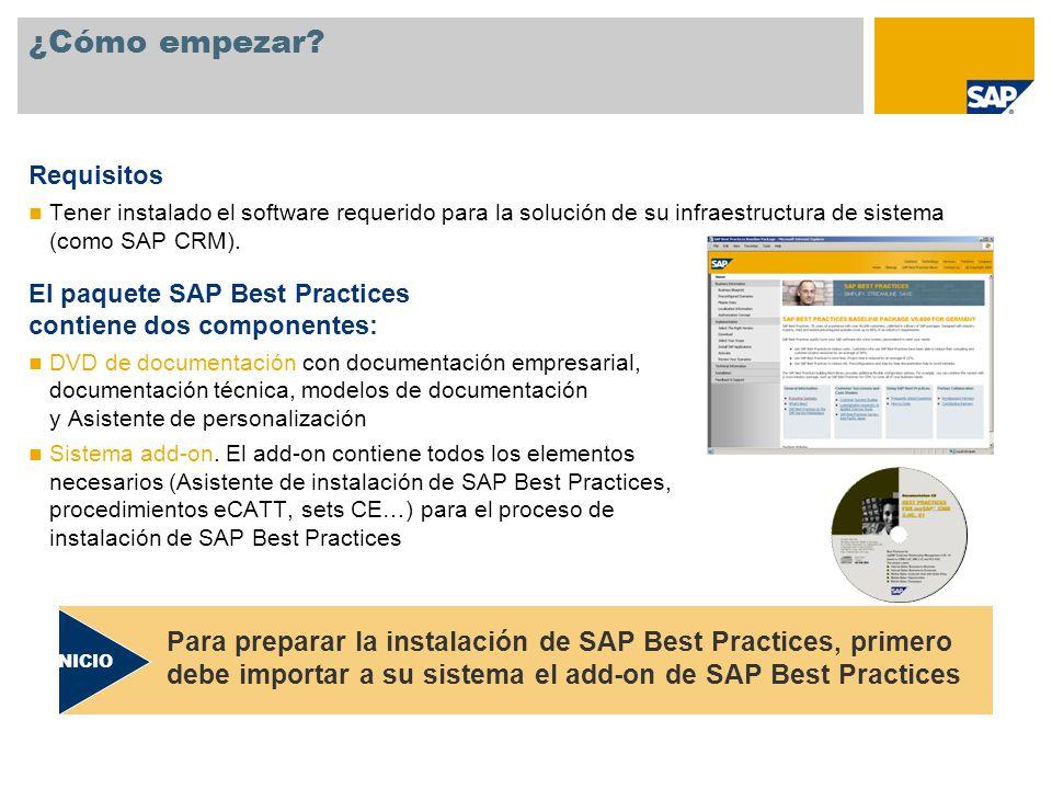 ¿Cómo empezar? Requisitos Tener instalado el software requerido para la solución de su infraestructura de sistema (como SAP CRM). El paquete SAP Best