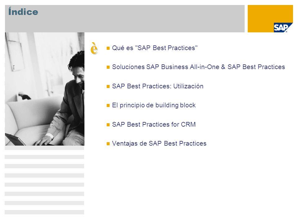SAP Best Practices: reducción de costes, tiempo y riesgo Tiempo Riesgo Metodología pragmática Preconfiguración probada Documentación exhaustiva SAP Best Practices Coste Componentes SAP Best Practices representa una base sólida para soluciones empresariales listas para utilizar.