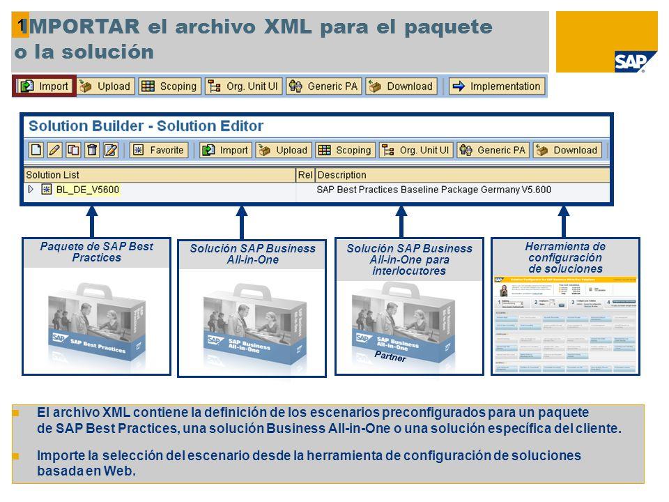 1 IMPORTAR el archivo XML para el paquete o la solución El archivo XML contiene la definición de los escenarios preconfigurados para un paquete de SAP