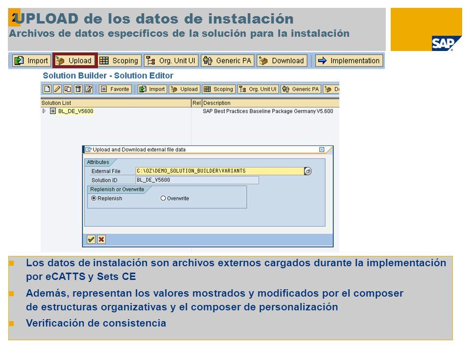 Los datos de instalación son archivos externos cargados durante la implementación por eCATTS y Sets CE Además, representan los valores mostrados y mod
