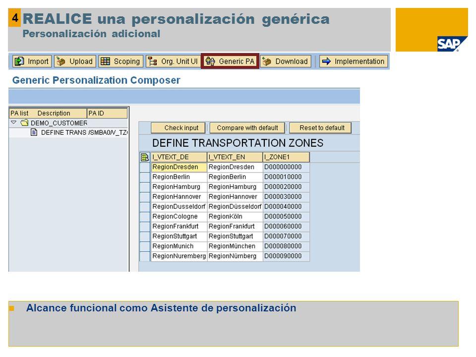 Alcance funcional como Asistente de personalización 4 REALICE una personalización genérica Personalización adicional