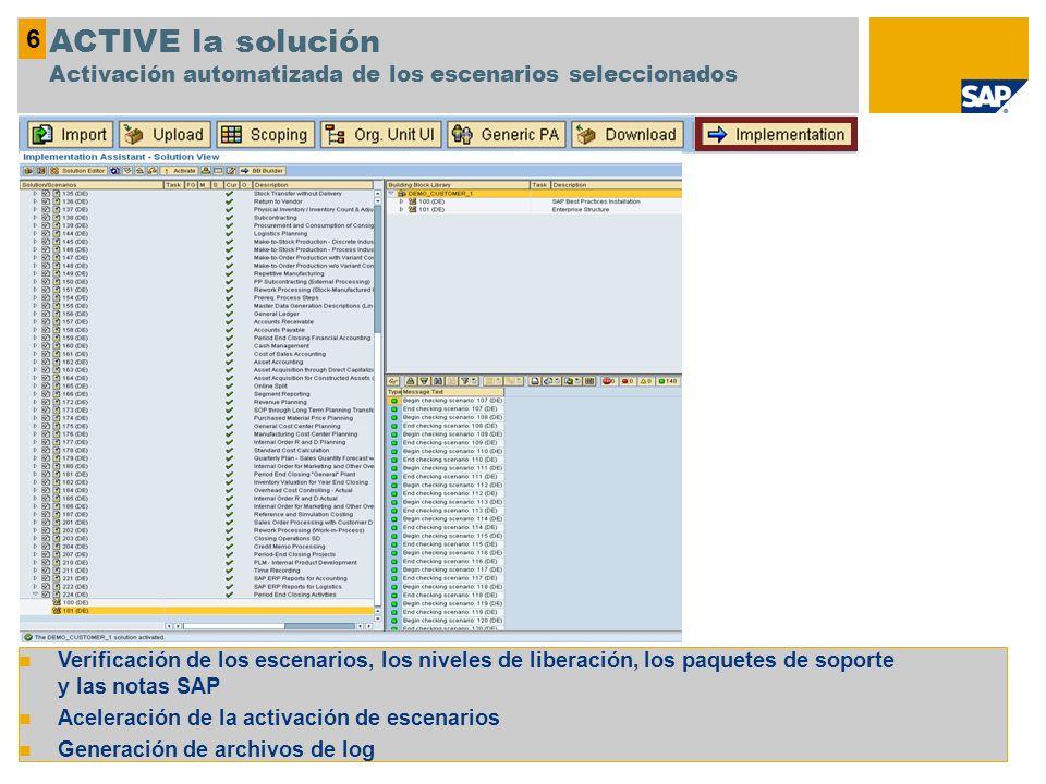 Verificación de los escenarios, los niveles de liberación, los paquetes de soporte y las notas SAP Aceleración de la activación de escenarios Generaci