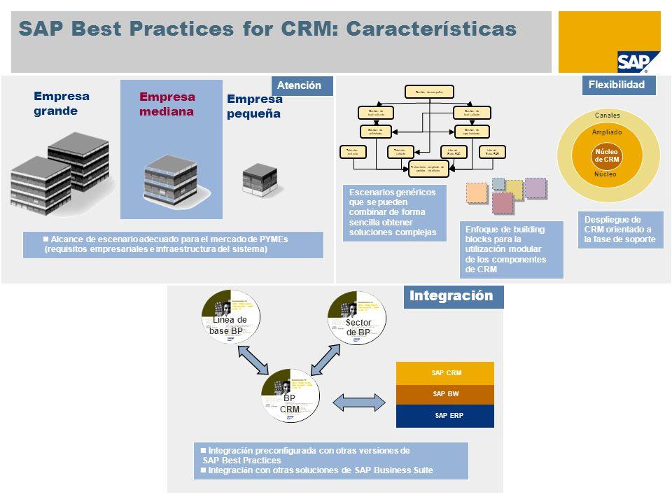 SAP Best Practices for CRM: Características Gesti ó n de campa ñ as Gesti ó n de lead entrante Gesti ó n de lead saliente Gesti ó n de actividades Ges