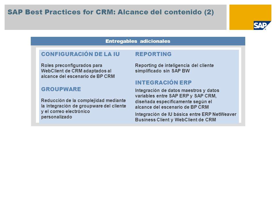 SAP Best Practices for CRM: Alcance del contenido (2) Entregables adicionales CONFIGURACIÓN DE LA IU Roles preconfigurados para WebClient de CRM adapt