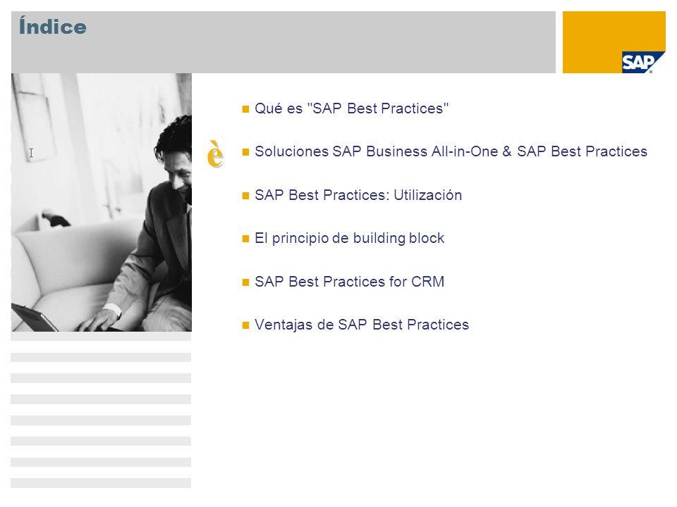 SAP Best Practices Un elemento clave del enfoque del portafolio para PYMEs de SAP Configurable y ampliable Soluci ó n empresarial en el sitio con mejores pr á cticas espec í ficas del sector Completa y adaptable Solución empresarial a pedido Aplicación empresarial única Cubre los aspectos fundamentales de las empresas peque ñ as Interlocutores comerciales Soluciones sectoriales Aceleradas por SAP Best Practices