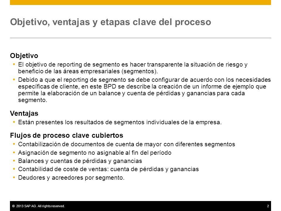 ©2013 SAP AG. All rights reserved.2 Objetivo, ventajas y etapas clave del proceso Objetivo El objetivo de reporting de segmento es hacer transparente